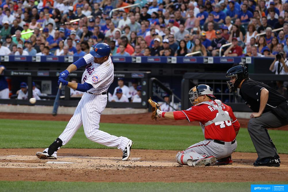 Lucas Duda, New York Mets, batting during the New York Mets Vs Washington Nationals. MLB regular season baseball game at Citi Field, Queens, New York. USA. 1st August 2015. (Tim Clayton for New York Daily News)