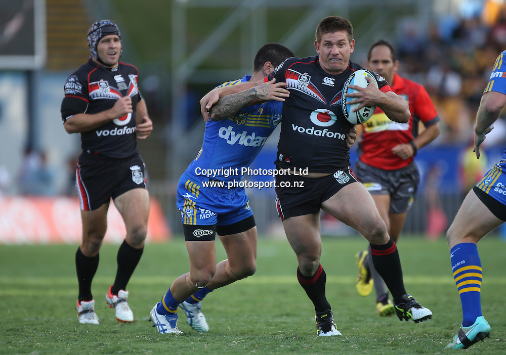 Warriors player Jacob Lillyman in action during the NRL Rugby League match between the NZ Warriors and the Parramatta Eels played at Mt Smart Stadium in South Auckland on the 21st March 2015. <br /> <br /> Copyright Photo; Peter Meecham/ www.photosport.co.nz