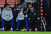 Chelsea assistant manager Gianfranco Zola chats with Chelsea manager Maurizio Sarri their team trails 3-0 during the Premier League match between Bournemouth and Chelsea at the Vitality Stadium, Bournemouth, England on 30 January 2019.