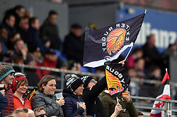 An Exeter Chiefs supporter in the crowd waves a flag - Mandatory byline: Patrick Khachfe/JMP - 07966 386802 - 04/05/2019 - RUGBY UNION - Allianz Park - London, England - Saracens v Exeter Chiefs - Gallagher Premiership Rugby