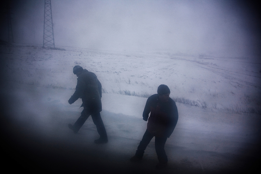 On the road from Prishtina to Mitrovica...Large snow storms in Kosovo, 2/19/09.