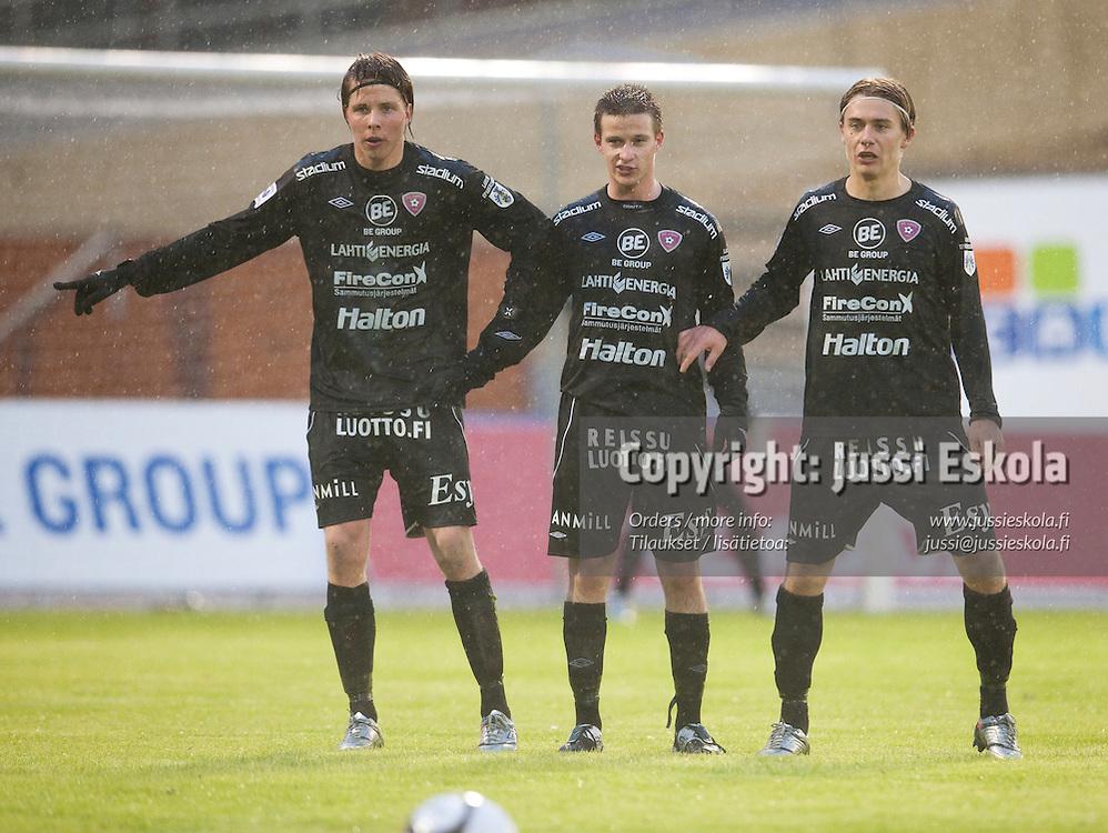 Jussi Länsitalo, Janne Törmänen, Pekka Sihvola. FC Lahti - Jaro. Veikkausliiga. Lahti 17.4.2010. Photo: Jussi Eskola
