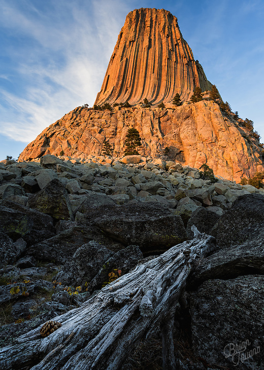 Devils Tower glows orange in the remaining sunlight of the day. It's thought that the igneous rock columns were once the core, or plug, of a long extinct volcano that's outer shell has eroded away over millions of years.