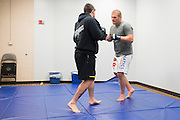 DALLAS, TX - MARCH 14:  Josh Copeland works out backstage before his fight against Jared Rosholt during UFC 185 at the American Airlines Center on March 14, 2015 in Dallas, Texas. (Photo by Cooper Neill/Zuffa LLC/Zuffa LLC via Getty Images) *** Local Caption *** Josh Copeland