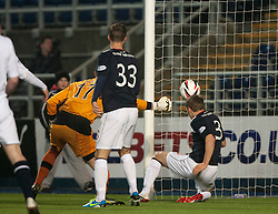 Falkirk's Stephen Kingsley scoring their third goal past Raith Rovers keeper Ross Laidlaw.<br /> Falkirk 3 v 1 Raith Rovers, Scottish Championship game at The Falkirk Stadium.