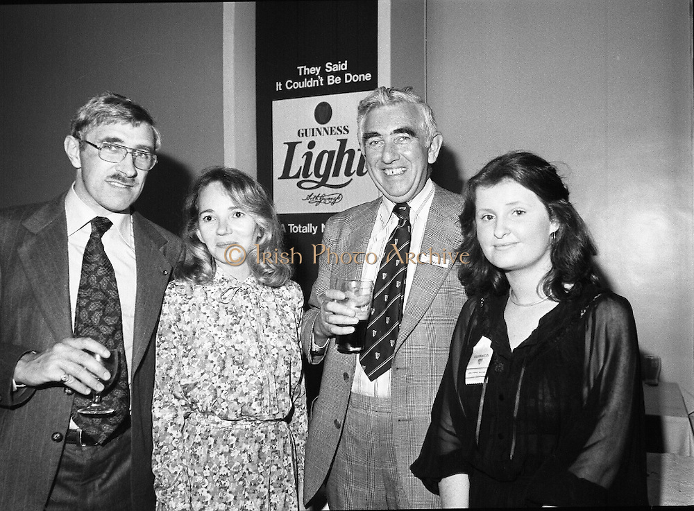 "Guinness Launch ""Guinness Light"".  (M79)..1979..26.06.1979..06.26.1979..26th June 1979..At the Guinness Theatre in St James Gate Brewery,Guinness launched ""Guinness Light"". With a spectacular show Guinness brought to the market a new lighter version of its world famous stout. it is hoped that it will fill a niche with younger drinkers frequenting Ireland's pubs and clubs..Pictured at the Guinness 'Light' launch were Frank Fell, L V A, Niamh landy, Sec, Guild of Sommeliers, Noel O'Carroll, G G S and Philomena McCabe,G G S."