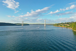 United States, Washington,Tacoma Narrow Bridge and Puget Sound (aerial view)