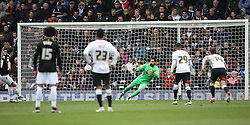 Zach Clough of Bolton Wanderers (L) scores his sides first goal from the penalty spot - Mandatory by-line: Jack Phillips/JMP - 09/04/2016 - FOOTBALL - iPro Stadium - Derby, England - Derby County v Bolton Wanderers - Sky Bet Championship