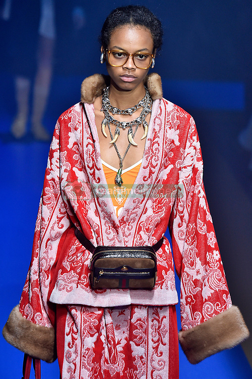 Model Aaliyah Hydes walks on the runway during the Gucci Fashion Show during Milan Fashion Week Spring Summer 2018 held in Milan, Italy on September 20, 2017. (Photo by Jonas Gustavsson/Sipa USA)