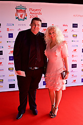 LIVERPOOL, ENGLAND - Thursday, May 10, 2018: Mark and Joanne McVeigh, parents of  Owen McVeigh, arrive on the red carpet for the Liverpool FC Players' Awards 2018 at Anfield. (Pic by David Rawcliffe/Propaganda)