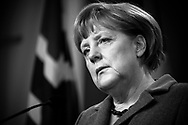 German Chancellor Angela Merkel seen during a press conference with Jens Stoltenberg in Oslo. Merkel and Stoltenberg discussed the economy, energy and future relationships during the meeting.