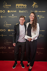 Klavdija Drnovsek and Klemen Sturm during SPINS XI Nogometna Gala 2019 event when presented best football players of Prva liga Telekom Slovenije in season 2018/19, on May 19, 2019 in Slovene National Theatre Opera and Ballet Ljubljana, Slovenia. ,Photo by Urban Meglic / Sportida