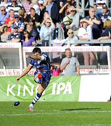 Bristol Rugby's Tristan Roberts converts - Photo mandatory by-line: Joe Meredith/JMP - Tel: Mobile: 07966 386802 06/10/2013 - SPORT - FOOTBALL - RUGBY UNION - Memorial Stadium - Bristol - Bristol Rugby V Bedford Blues - The Championship
