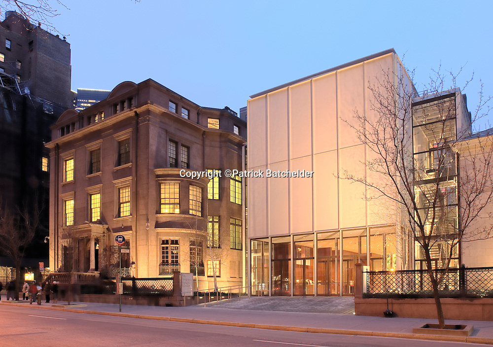 The Morgan Library & Museum, Madison Avenue at 36th Street, New York City, began as the private library of financier Pierpont Morgan. The modern entrance was designed by Pritzker Prize-winning architect Renzo Piano in 2006.