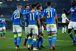 February 21, 2019 - Naples, Naples, Italy - Simone Verdi of SSC Napoli celebrates after scoring 1-0 during the UEFA Europa League Round of 32 Second Leg match between SSC Napoli and FC Zurich at Stadio San Paolo Naples Italy on 21 February 2019. (Credit Image: © Franco Romano/NurPhoto via ZUMA Press)