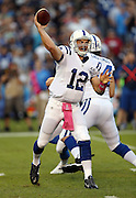 Indianapolis Colts quarterback Andrew Luck (12) throws a second quarter pass during the NFL week 6 football game against the San Diego Chargers on Monday, Oct. 14, 2013 in San Diego. The Chargers won the game 19-9. ©Paul Anthony Spinelli