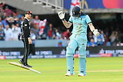 Mark Wood of England throws his batt after the match is tied to bring up a super over during the ICC Cricket World Cup 2019 Final match between New Zealand and England at Lord's Cricket Ground, St John's Wood, United Kingdom on 14 July 2019.