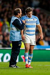 Argentina Fly-Half Nicolas Sanchez has his right shoulder treated - Mandatory byline: Rogan Thomson/JMP - 07966 386802 - 25/10/2015 - RUGBY UNION - Twickenham Stadium - London, England - Argentina v Australia - Rugby World Cup 2015 Semi Finals.