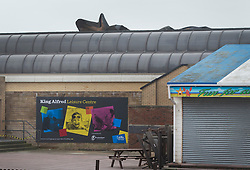© Licensed to London News Pictures. 08/02/2016. Hove, UK.  Part of the roof of the King Alfred Leisure Centre has been blown away at Hove from high winds during storm Imogen. Photo credit: Peter Macdiarmid/LNP