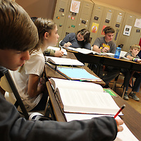RAY VAN DUSEN/BUY AT PHOTOS.MONROECOUNTYJOURNAL.COM<br /> Peyton Raiford, left, takes notes during a science lesson in Allison Bedillion's seventh-grade class.