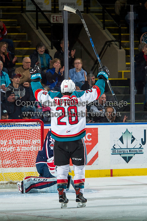 KELOWNA, CANADA - JANUARY 3: Leif Mattson #28 of the Kelowna Rockets celebrates a goal against the Tri-City Americans on January 3, 2017 at Prospera Place in Kelowna, British Columbia, Canada.  (Photo by Marissa Baecker/Shoot the Breeze)  *** Local Caption ***