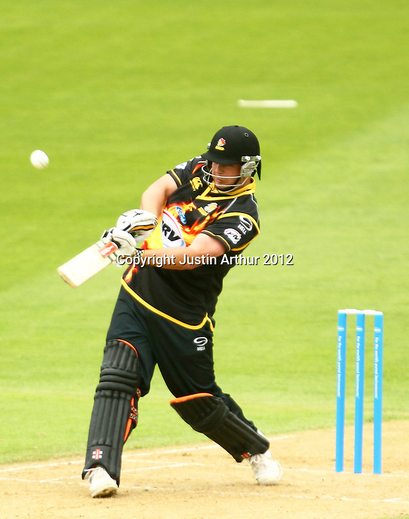 Jesse Ryder smashes a six during the 2012/2013 HRV Cup Twenty20 session. Wellington Firebirds v Central Stags at the Basin Reserve, Wellington, New Zealand on Wednesday 26 December 2012. Photo: Justin Arthur / photosport.co.nz