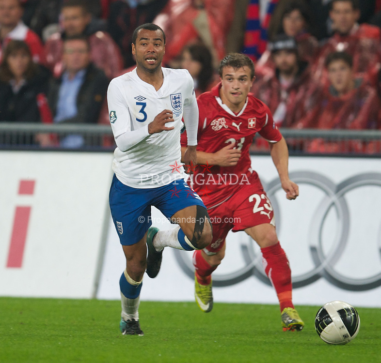 BASEL, SWITZERLAND - Tuesday, September 7, 2010: England's Ashley Cole in action against Switzerland during the UEFA Euro 2012 Qualifying Group G match at St. Jakob-Park. (Pic by David Rawcliffe/Propaganda)