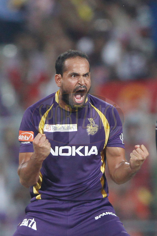 Kolkatta Knight Riders player Yusuf Pathan celebrates the wicket of Royal Challengers Bangalore player Tillakaratne Dilshan during match 38 of the the Indian Premier League ( IPL) 2012  between The Kolkata Knight Riders and The Royal Challengers Bangalore held at the Eden Gardens Stadium in Kolkata on the 28th April 2012..Photo by Pankaj Nangia/IPL/SPORTZPICS