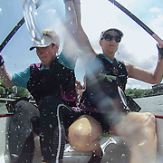From Left: Linda Giovinco and Kathy Meyers Breast Cancer Survivors from team Hope AfloatUSA participate in the Inaugural Dragon Boat race Saturday, May 30, 2015, at Tubman-Garrett Riverfront Park in Wilmington, Delaware.