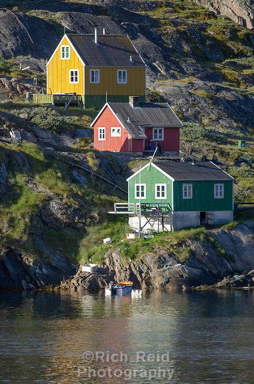 Colorful buildings of Sarfannguit, Greenland are wooden houses traditionally sent from Scandinavia as timber kits and colors were practical indicating the function of the building.