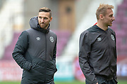 Hearts new signing David Vanecek (#32)(left) before the 4th round of the William Hill Scottish Cup match between Heart of Midlothian and Livingston at Tynecastle Stadium, Edinburgh, Scotland on 20 January 2019.