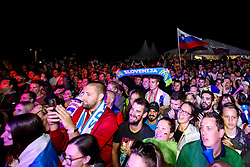 Fans at celebration outside arena after volleyball match between National teams of Slovenia and Poland in semifinal of 2019 CEV Volleyball Men's European Championship in Ljubljana, on September 26, 2019 in Arena Stozice. Ljubljana, Slovenia. Photo by Matic Klansek Velej / Sportida
