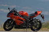 Kawasaki Ninja ZX - 6R against Okanagan Lake in Summerland, B.C.