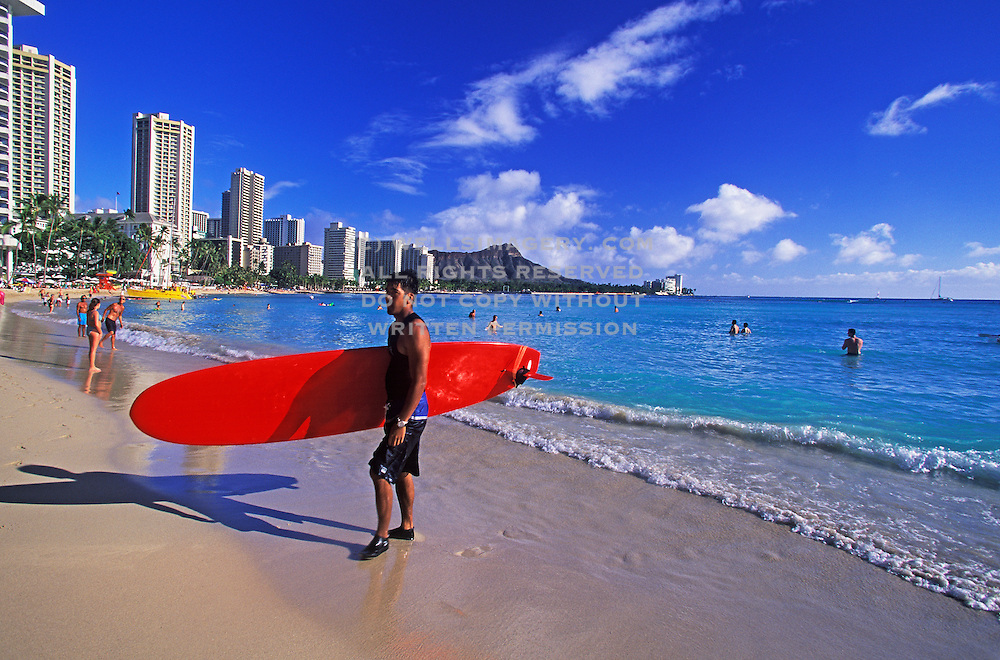 Image of the beach at Waikiki, Honolulu, Oahu, Hawaii, Hawaiian Islands
