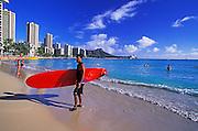 Image of the beach at Waikiki, Honolulu, Oahu, Hawaii, Hawaiian Islands