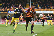 Bradford City Defender, Anthony McMahon (29) ands Oxford United Midfielder, Marvin Johnson (28)  during the EFL Sky Bet League 1 match between Bradford City and Oxford United at the Coral Windows Stadium, Bradford, England on 14 April 2017. Photo by Mark Pollitt.