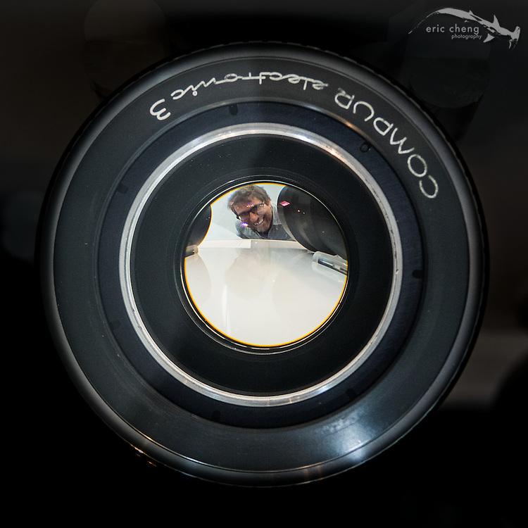Michael Topolovac behind a 50mm f/0.7 lens