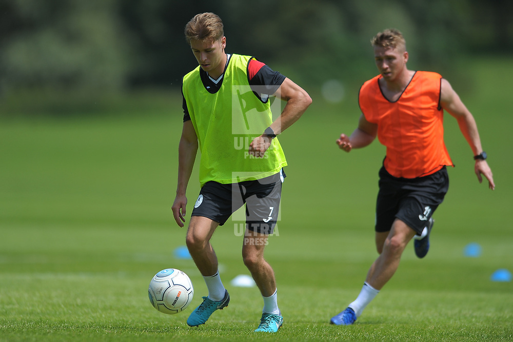 Henry Cowans holds off Darryl Knights as AFC Telford United return to pre-season training at Lilleshall National Sports Centre on Saturday, June 29, 2019.<br /> <br /> Free for editorial use only<br /> Picture credit: Mike Sheridan/Ultrapress<br /> <br /> MS201920-003
