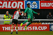 Watford forward Isaac Success (10) chests the ball during the The FA Cup 3rd round match between Woking and Watford at the Kingfield Stadium, Woking, United Kingdom on 6 January 2019.