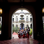 Pres. George W. Bush and Guatemalan Pres. Oscar Berger take part in an arrival ceremony at Casa Presidencial in Guatemala City, Guatemala, Monday, March 12, 2007.<br /> <br /> Photo by Khue Bui