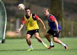 Luke Freeman of Bristol City tussles for the ball with Josh Brownhill of Bristol City  - Mandatory by-line: Joe Meredith/JMP - 19/07/2016 - FOOTBALL - Bristol City pre-season training camp, La Manga, Murcia, Spain