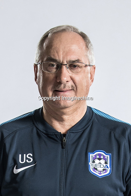 **EXCLUSIVE**Portrait of head coach Uli Stielike of Tianjin TEDA F.C. for the 2018 Chinese Football Association Super League, in Tianjin, China, 28 February 2018.