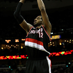 March 30, 2011; New Orleans, LA, USA; Portland Trail Blazers power forward LaMarcus Aldridge (12) shoots against the New Orleans Hornets during the third quarter at the New Orleans Arena. The Hornets defeated the Trail Blazers 95-91.   Mandatory Credit: Derick E. Hingle