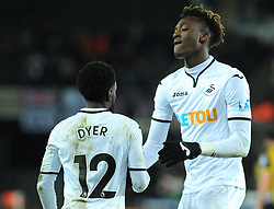 Nathan Dyer of Swansea City celebrates his goal with Tammy Abraham of Swansea City - Mandatory by-line: Nizaam Jones/JMP - 27/02/2018 - FOOTBALL - Liberty Stadium - Swansea, Wales-Swansea City v Sheffield Wednesday - Emirates FA Cup fifth round proper