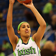 Skylar Diggins, Notre Dame, in action during warm up before the Notre Dame Fighting Irish V Louisville Cardinals Semi Final match during the Big East Conference, 2013 Women's Basketball Championships at the XL Center, Hartford, Connecticut, USA. 11th March. Photo Tim Clayton