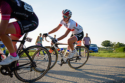 Kasia Niewiadoma (Rabo Liv) catches solo leader, Minke van Dongen (Swabo Ladies) at the 103 km Stage 1 of the Boels Ladies Tour 2016 on 30th August 2016 in Tiel, Netherlands. (Photo by Sean Robinson/Velofocus).