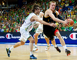 Simas Jasaitis of Lithuania vs Robin Benzing of Germany during basketball game between National basketball teams of Lithuania and Germany at FIBA Europe Eurobasket Lithuania 2011, on September 11, 2011, in Siemens Arena,  Vilnius, Lithuania. Lithuania defeaed Germany 84-75. (Photo by Vid Ponikvar / Sportida)