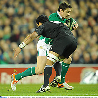20 November 2010; David Wallace, Ireland, is tackled by Jerome Kaino, New Zealand. Autumn International, Ireland v New Zealand, Aviva Stadium, Lansdowne Road, Dublin. Picture credit: Stephen McCarthy / SPORTSFILE