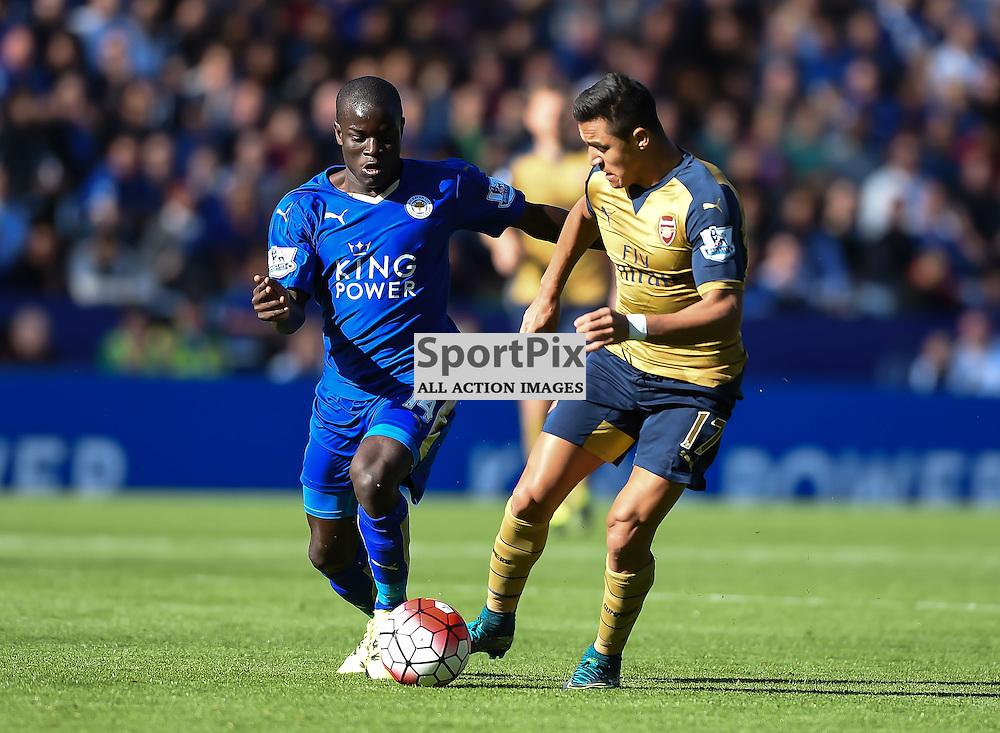 N'Golo Kante tackles hat-trick hero Alexis Sanchez (c) Simon Kimber | SportPix.org.uk
