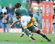 CAPE TOWN, SOUTH AFRICA - Saturday 28 September 2013, Zane Kirchner of South Africa runs into Ben Mowen of Australia during the Castle Lager Rugby Championship test match between South Africa (Sprinkboks) and Australia (Wallabies) at DHL Newlands in Cape Town.<br /> Photo by Roger Sedres/ ImageSA